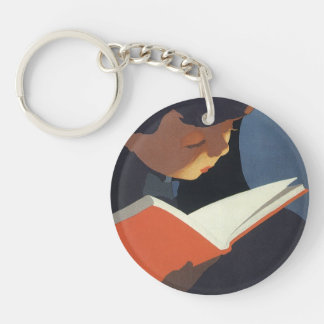 Vintage Child Reading a Book From the Library Keychain