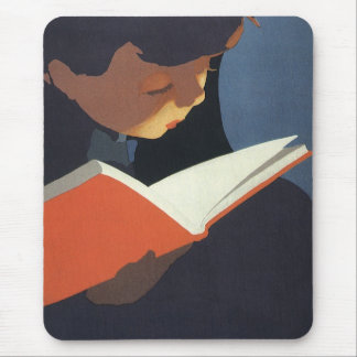 Vintage Child Reading a Book From the Library Mouse Pads