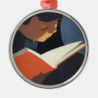 Vintage Child Reading a Book From the Library Round Metal Christmas Ornament