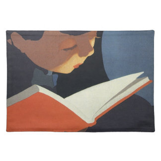 Vintage Child Reading a Book From the Library Placemat