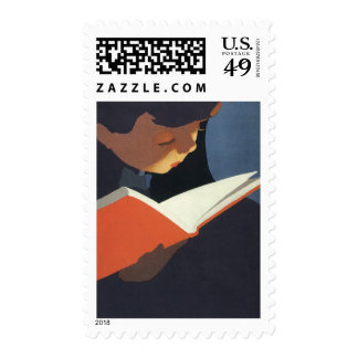 Vintage Child Reading a Book From the Library Postage Stamp