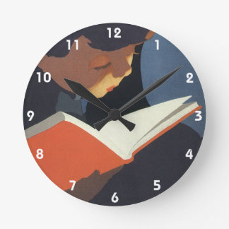 Vintage Child Reading a Book From the Library Round Clock