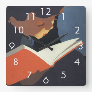 Vintage Child Reading a Book From the Library Square Wall Clock