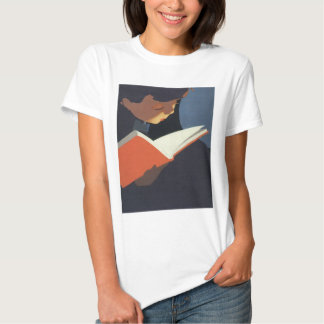 Vintage Child Reading a Book From the Library T-Shirt