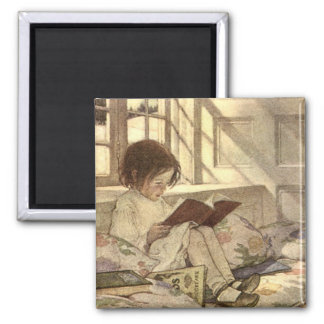 Vintage Child Reading a Book, Jessie Willcox Smith 2 Inch Square Magnet