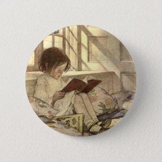 Vintage Child Reading a Book, Jessie Willcox Smith Button
