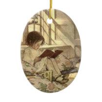 Vintage Child Reading a Book, Jessie Willcox Smith Ceramic Ornament