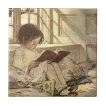 Vintage Child Reading a Book, Jessie Willcox Smith Ceramic Tile