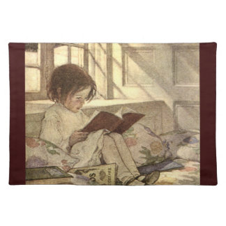 Vintage Child Reading a Book, Jessie Willcox Smith Cloth Placemat
