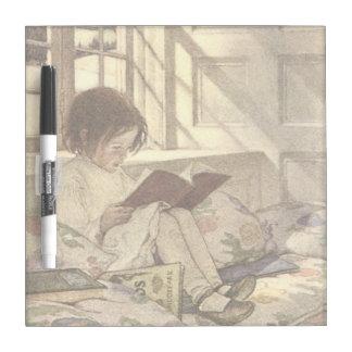 Vintage Child Reading a Book, Jessie Willcox Smith Dry Erase Board