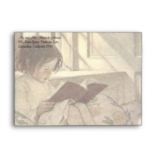 Vintage Child Reading a Book, Jessie Willcox Smith Envelope