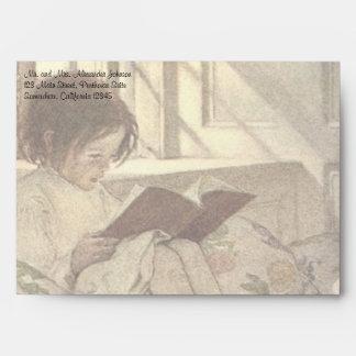 Vintage Child Reading a Book, Jessie Willcox Smith Envelope