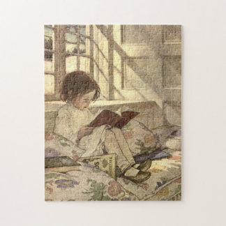 Vintage Child Reading a Book, Jessie Willcox Smith Jigsaw Puzzle
