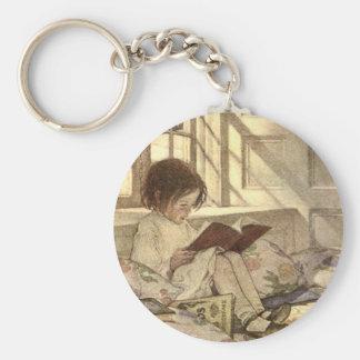 Vintage Child Reading a Book, Jessie Willcox Smith Keychain