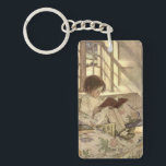 "Vintage Child Reading a Book, Jessie Willcox Smith Keychain<br><div class=""desc"">Vintage illustration children image featuring a girl child reading a book by a window. Picture Books in Winter,  from A Garden of Verses by Jessie Willcox Smith. A classic book of children&#39;s poems and poetry.</div>"