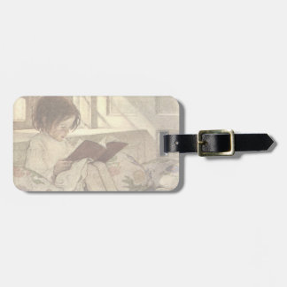 Vintage Child Reading a Book, Jessie Willcox Smith Travel Bag Tags