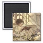 Vintage Child Reading a Book, Jessie Willcox Smith Fridge Magnets