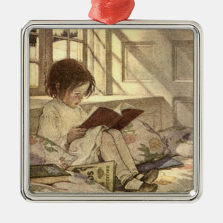 Vintage Child Reading a Book, Jessie Willcox Smith Metal Ornament