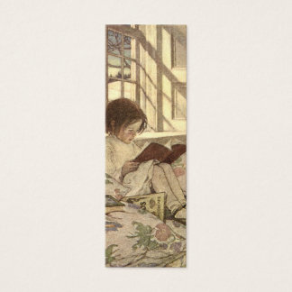Vintage Child Reading a Book, Jessie Willcox Smith Mini Business Card