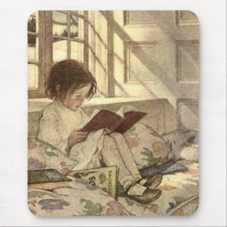Vintage Child Reading a Book, Jessie Willcox Smith Mouse Pad