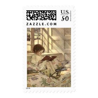 Vintage Child Reading a Book, Jessie Willcox Smith Postage