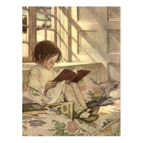 Vintage Child Reading a Book Jessie Willcox Smith Postcard
