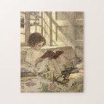 Vintage Child Reading a Book, Jessie Willcox Smith Jigsaw Puzzles