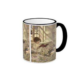 Vintage Child Reading a Book, Jessie Willcox Smith Ringer Mug