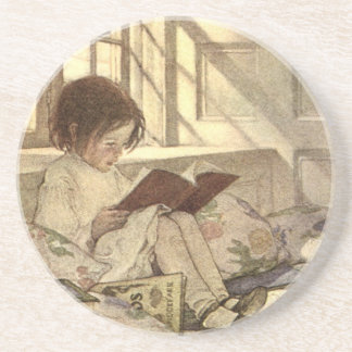 Vintage Child Reading a Book, Jessie Willcox Smith Sandstone Coaster