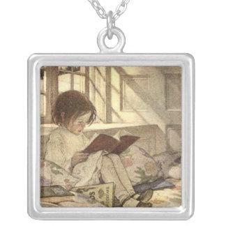 Vintage Child Reading a Book, Jessie Willcox Smith Square Pendant Necklace