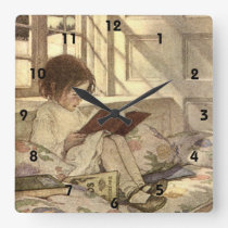Vintage Child Reading a Book, Jessie Willcox Smith Square Wall Clock