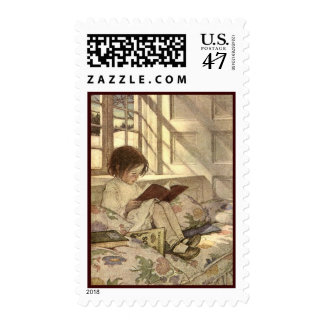 Vintage Child Reading a Book, Jessie Willcox Smith Stamp