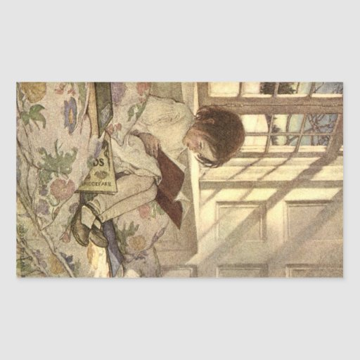 Vintage Child Reading a Book, Jessie Willcox Smith Rectangle Sticker