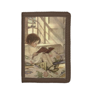 Vintage Child Reading a Book, Jessie Willcox Smith Trifold Wallet
