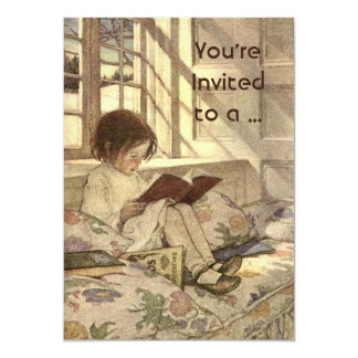 Vintage Child Reading a Book School Graduation 5x7 Paper Invitation Card