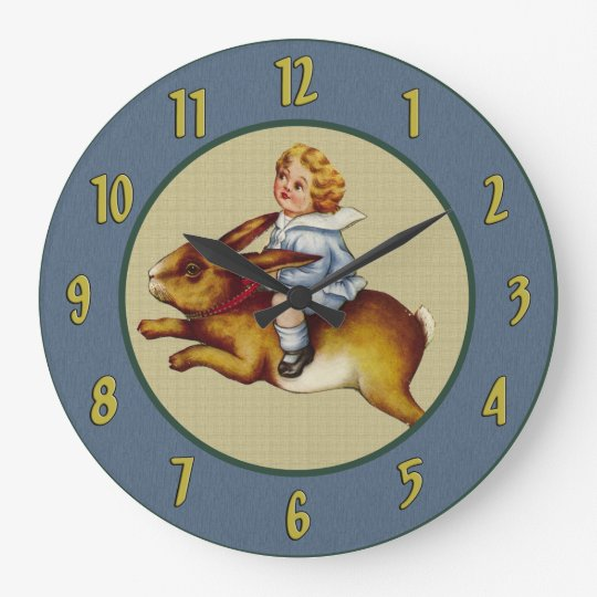 Vintage Child Riding Rabbit Wall Clock