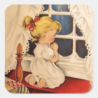 Vintage Child Saying Prayers Square Sticker