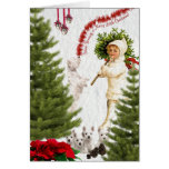 Vintage Child & Westie Wishes For Merry Christmas Greeting Card