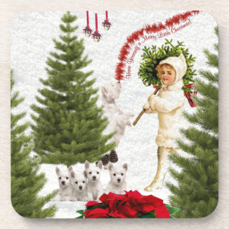 Vintage Child & Westie Wishes For Merry Christmas Drink Coaster