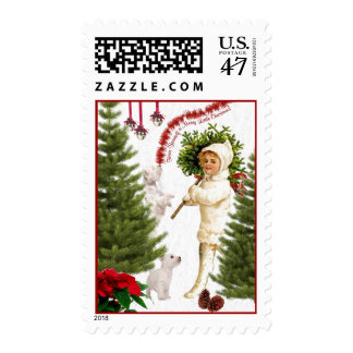 Vintage Child & Westie Wishes For Merry Christmas Postage