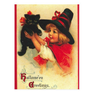 Vintage Child Witch And Black Cat Postcard