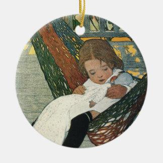 Vintage Child with a Doll by Jessie Willcox Smith Ceramic Ornament