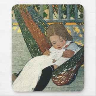 Vintage Child with a Doll by Jessie Willcox Smith Mouse Pad
