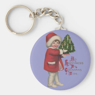 Vintage Child with Christmas Tree Keychain