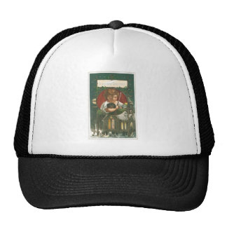 Vintage Child with Dog on Christmas and Church Mesh Hat