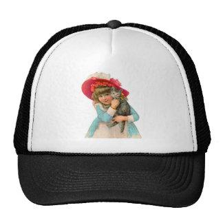 VINTAGE CHILD WITH KITTEN VICTORIAN PINK HAT