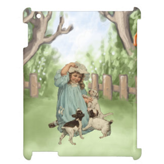 Vintage Child with Terrier Dogs Case For The iPad 2 3 4