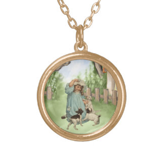 Vintage Child with Terrier Dogs Gold Plated Necklace