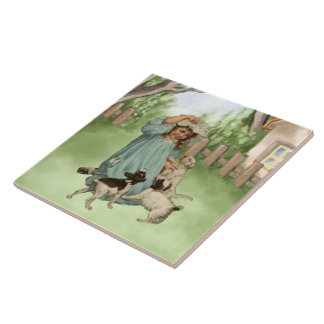 Vintage Child with Terrier Dogs Tile