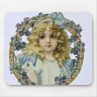 Vintage child with Victorian Blue Bow and Flowers Mouse Pad